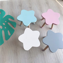 Ins Nordic Style Natural Wooden Star Kids Chair Kids Furniture Wooden Stool Children's Room Decoration Nursery Decor Home Decor(China)