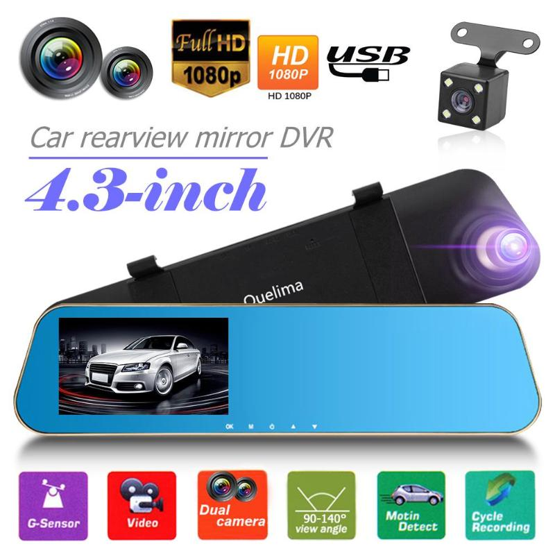 1080P Car DVR Camera Dual Lens Rearview Mirror Full HD LDWS Auto Digital Video Recorder Dash Cam Car Multi-media Player
