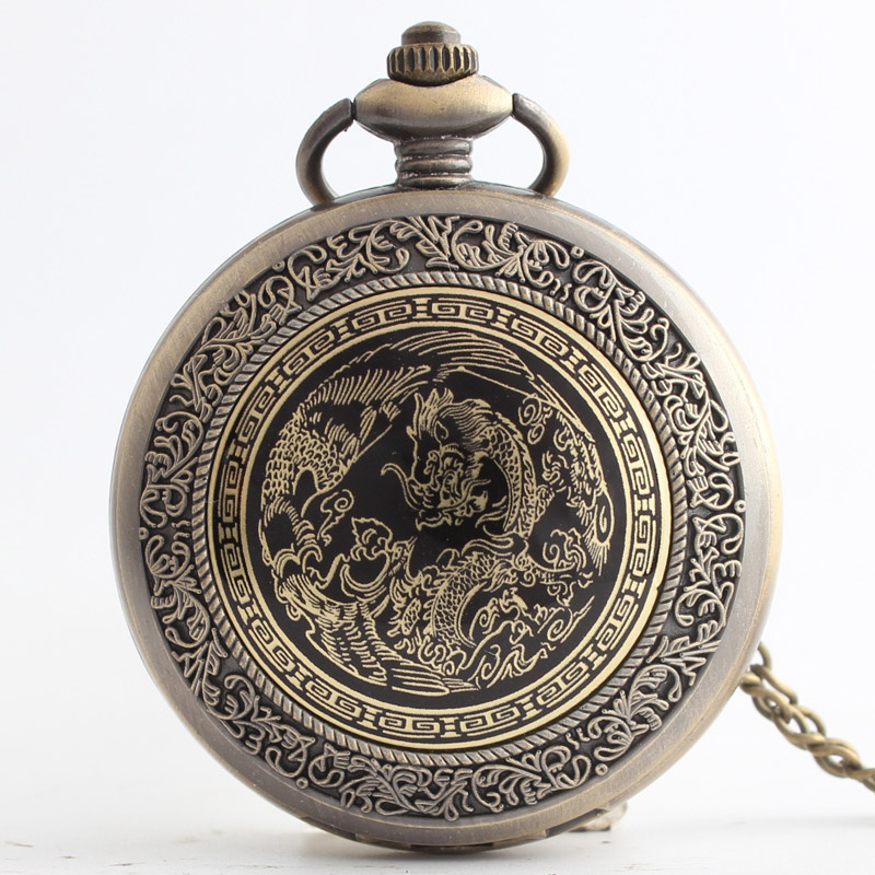 Pocket & Fob Watches  Chinese Style Dragon  Quartz Pocket Watch Pendant Chain Necklace for Women/Men Watch Gift