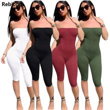 Strapless black solid spandex playsuits Off shoulder summer shorts rompers womens jumpsuit backless female bodysuits
