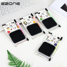 EZONE Black Pages Sticky Notes With Fluorescent Pen Set 50 Sheets Creative Office Stationery Self-Adhesive Note Pads