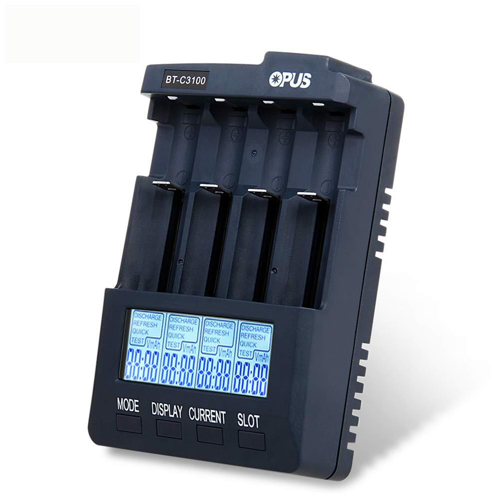 Opus BT-C3100 V2 2 Smart Digital Intelligent Battery Charger 4 Slots AA AAA LCD Universal Battery Charger Lithium 10440 18650