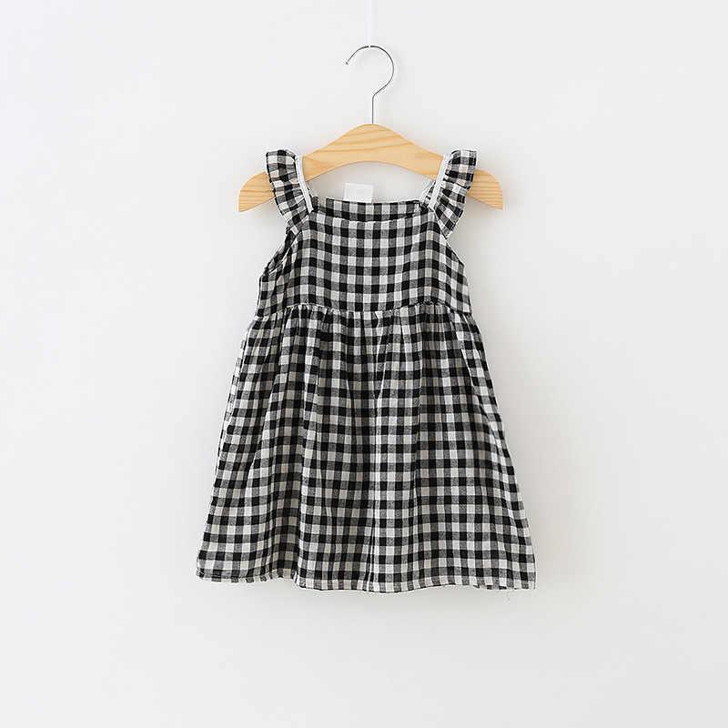 Crianças verão vestido xadrez meninas vestidos de algodão sem mangas crianças vestidos para meninas moda crianças roupas meninas