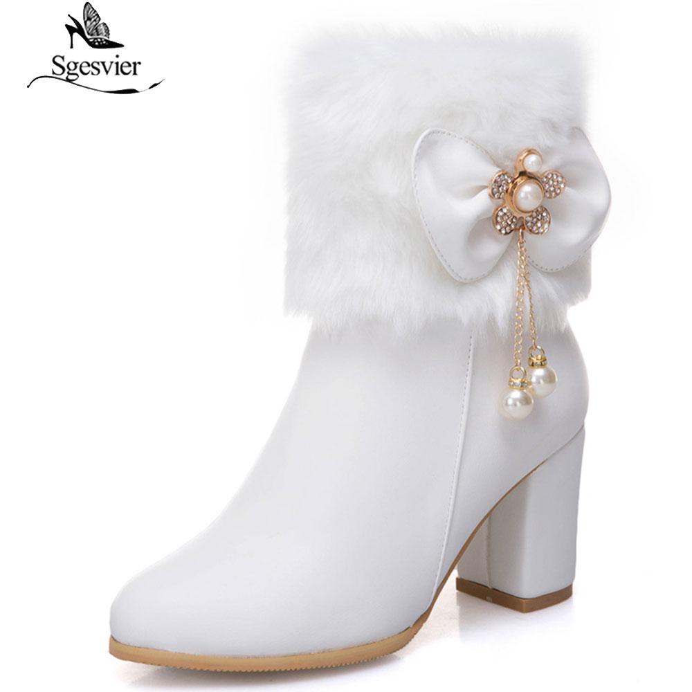 Sgesvier Frauen Dicke High Heel Side Zipper Stiefeletten Runde Kappe Winter Schuhe Schwarz Weiß Kurze Stiefel Plus Größe 33-52 B874