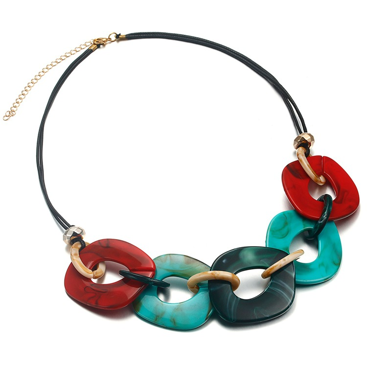 Fashion geometric Tortoiseshell Oval Texture Pendant Drop Necklace Resin Material Jewelry Women Elegant Design colours Necklace in Chain Necklaces from Jewelry Accessories