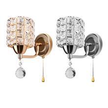 Современный стиль, настенный светильник, цилиндрический кристалл, настенный светильник, держатель с подвеской и выключателем, AC 85-250V E14 розетка(без лампы в комплекте
