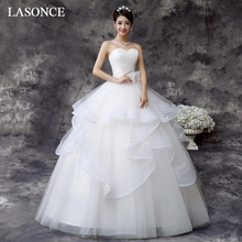 LASONCE Elegant Pleat Strapless Ball Gown Tiered Tulle Wedding Dresses Lace Appliques Bow Sash Backless Bridal Gowns цены онлайн