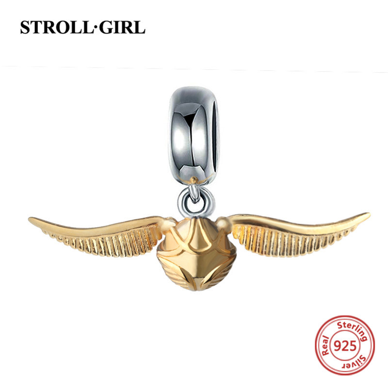 StrollGirl 925 silver charms classic Golden Snitch beads fit original pandora pendant bracelet jewelry accessory making men gift