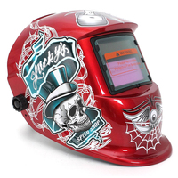 New Style Welding Helmet Mask Solar Automatic Welding (Use Solar Energy for Refill Red Skull and Spider web Protective Access