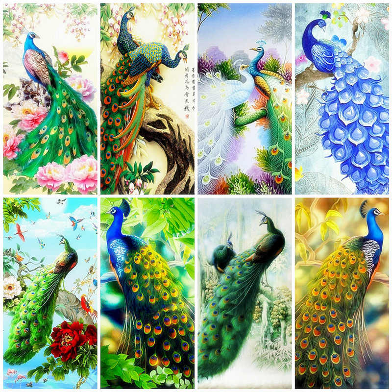 Azqsd 5D Diamond Bordir Anmial Peacock Mosaik Diamond Cross Stitch DIY Diamond Lukisan Bunga Rhinestones Dekorasi Rumah