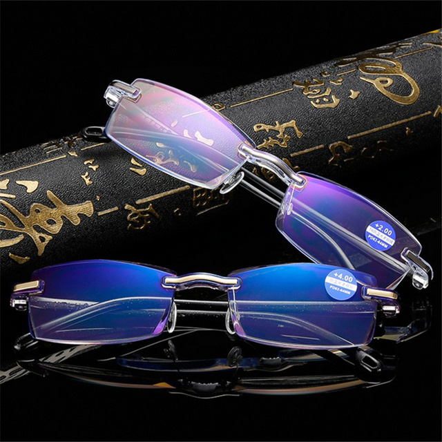 Oulylan Rimless Reading Glasses Women Men Anti Blue Light Eyeglasses Hyperopia Eyewear Presbyopia Diopter +1.0 1.5 2.0 2.5 3.0