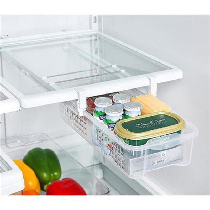 Sliding Refrigerator Freezer Pantry Storage Organizer Bins Hollow Container Box