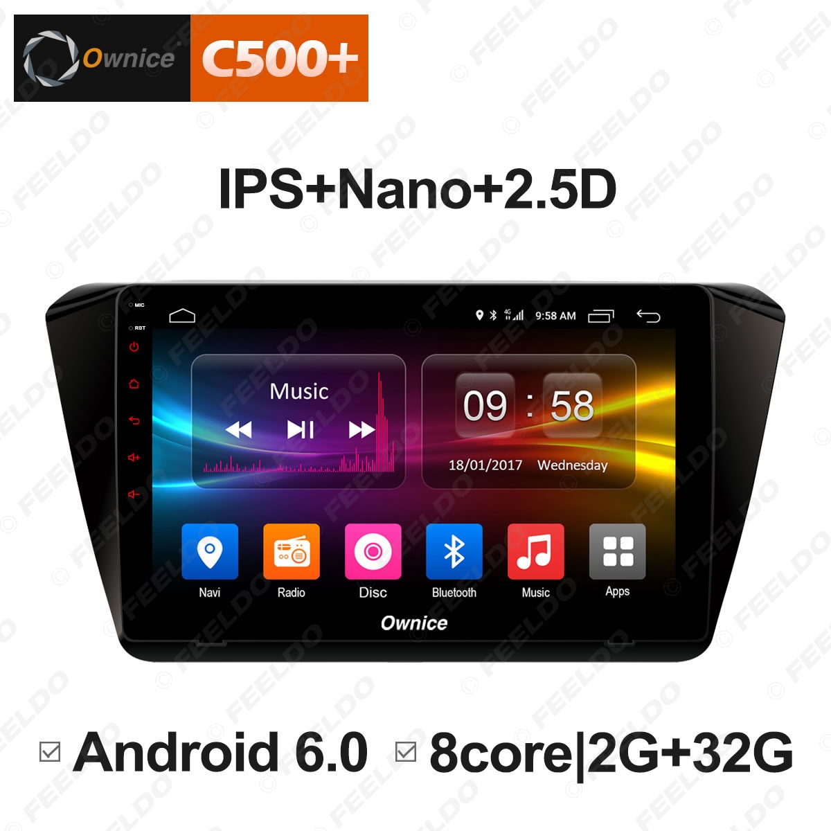 """Best FEELDO  10.1"""" Android 6.0 4-Core/DDR3 1G/16G/Support 4G Dongle Car Media Player With GPS/FM/AM RDS For Superb 2016 (Superb B8) 2"""