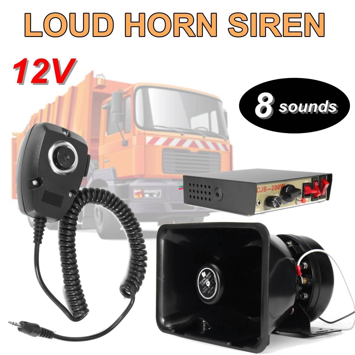 200 W 8 son fort voiture avertissement alarme sirène klaxon PA haut-parleur système de micro avec Microphone camion Ambulance d'urgence