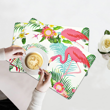 4PCS Flamingo Table Mat Non-Slip Chic Tropical Plants Tableware Pad Dining Table Mat Heat Insulation Placemats Bowl Coaster