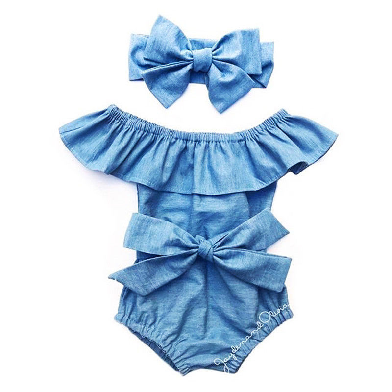 Newborn Kids Baby Girls Front Bowknot Bodysuit Romper Jumpsuit Outfits Set 0-24M Cotton Romper Summer  Front Bowknot Bodysuit
