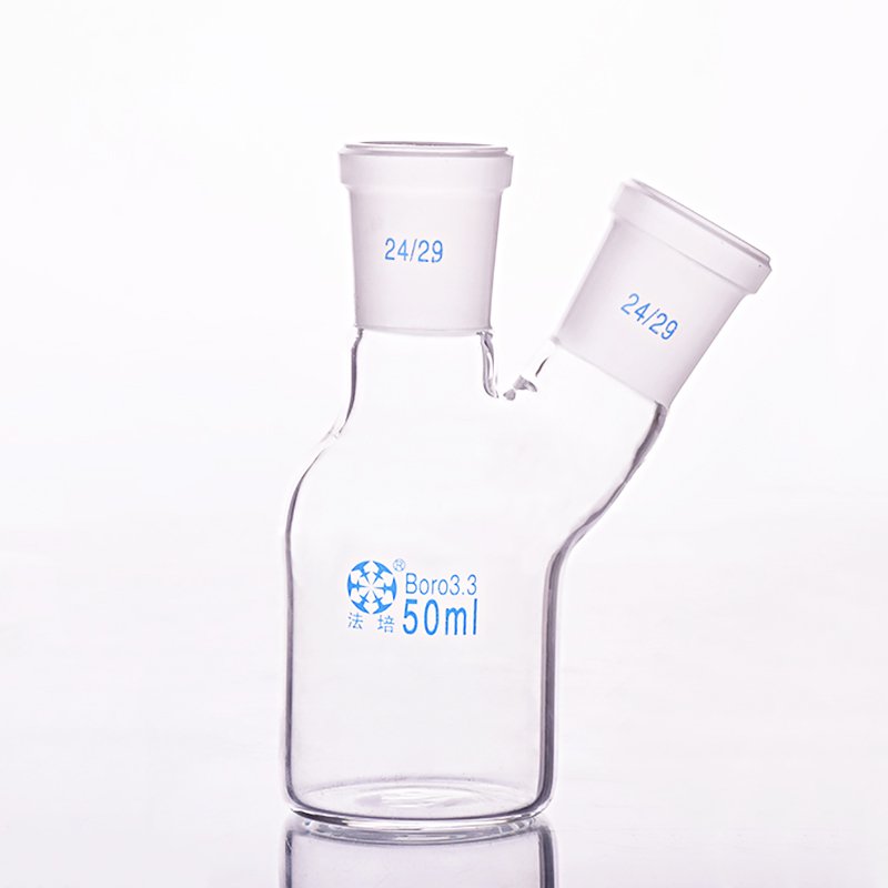 Single-deck cylindrical two-necked flat-bottom flask 50ml,Main 24/29,Side 24/29,Single-deck cylindrical reactor bottleSingle-deck cylindrical two-necked flat-bottom flask 50ml,Main 24/29,Side 24/29,Single-deck cylindrical reactor bottle