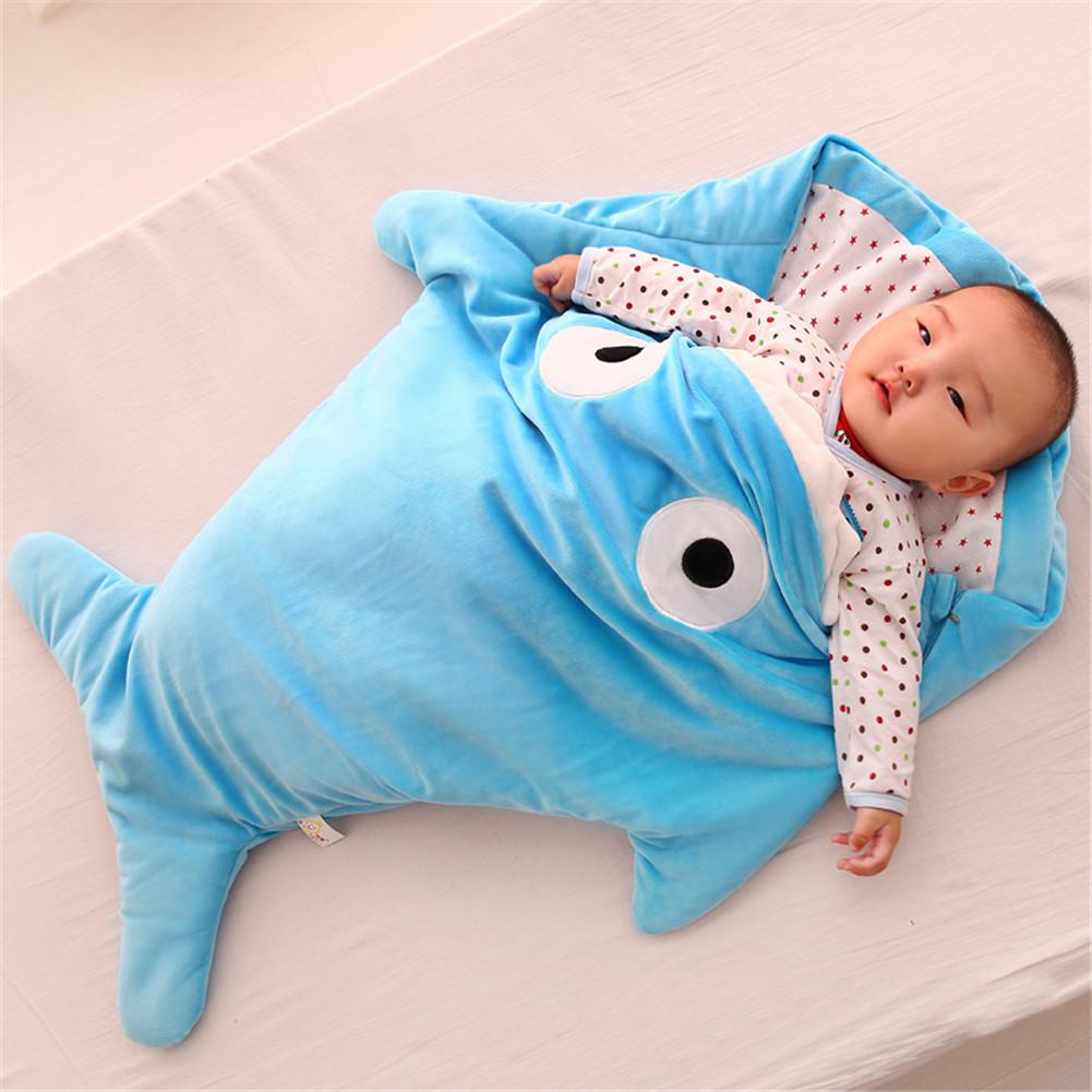 Cute Infant Creative Gifts Baby Sleeping Bag Shark Sleeping Bag Cartoon Anti-kick Is Autumn And Winter Baby Out Of Hugs