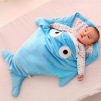 Cute Infant Creative Gifts Baby Sleeping Bag Shark Sleeping Bag Cartoon Anti-kick Is Autumn And Winter Baby Out Of Hugs