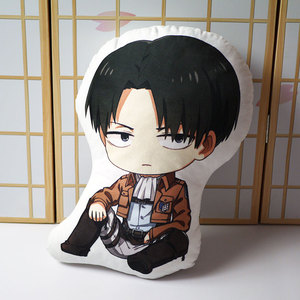 Image 4 - Attack on Titan pillow toy Anime Levi Ackerman short plush stuffed doll double sided pillowcase 48cm for gift