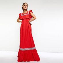 ff7c2548a8 Women Maxi Dresses Casual Boho Travel Beach Red Square Neck Loose Plain  Falbala Pleated Embroidery Female