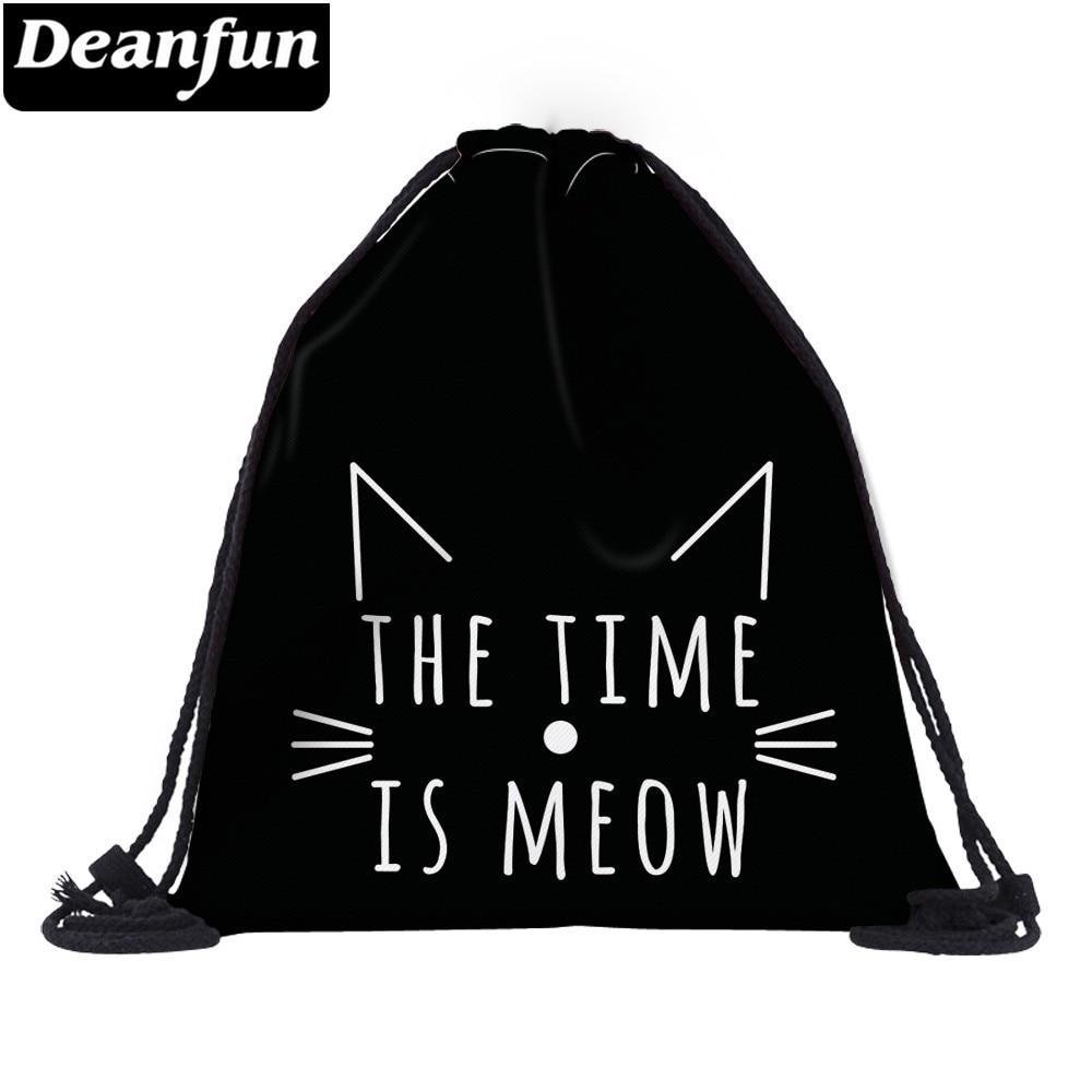 Deanfun Meow Cat Drawstring Bag 3D Printing Backpack Travel Waterproof Custom Bags Gift Backpacks  40683#
