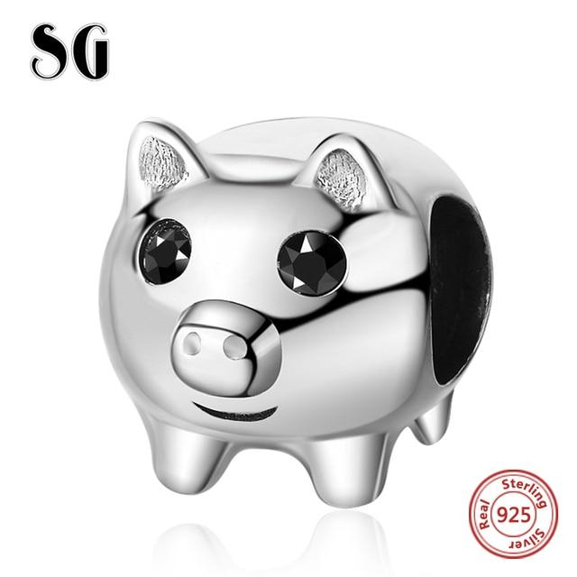 SG Originais Fit pandora pulseiras de Prata Esterlina 925 personalizado Bonito do porco animal contas encantos animais Jóias para mulheres Presentes