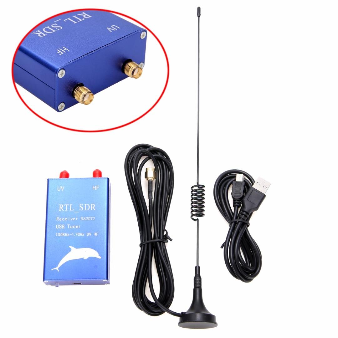 Tuner Receiver RTL2832U+R820T2 100KHz-1.7GHz UHF VHF HF RTL.SDR+Upconverter USB Tuner Receiver Radio