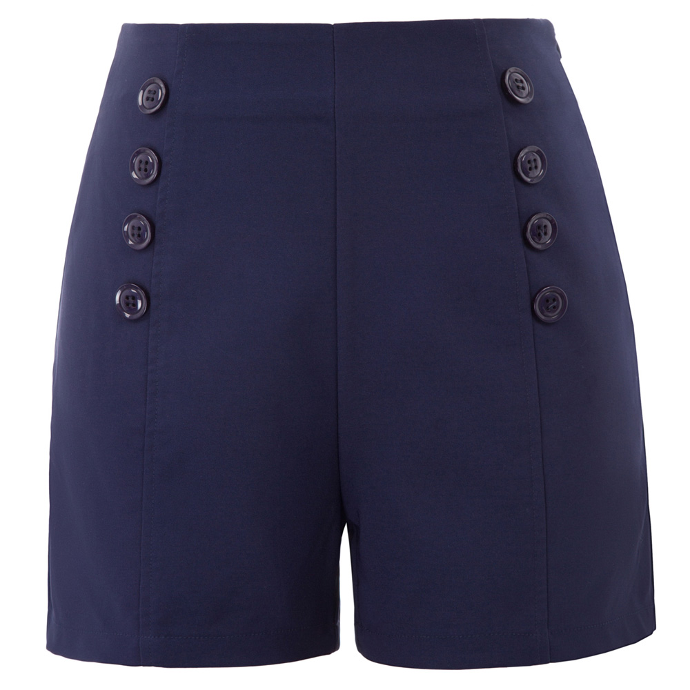 Navy Blue/ Black Women's Retro Vintage High Waist   shorts   slim brief chic sexy elegant Buttons Decor Sailor   Shorts   ladies wear