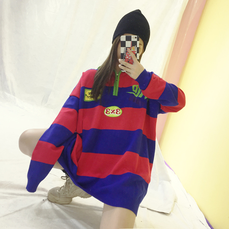 red De Green Tricot Pulls Mode Broderie Chandails Femelle Roulé Surdimensionné Lettre Automne Lâche Z287 Lady Tops Harajuku violet Rayé Col 4HBwq