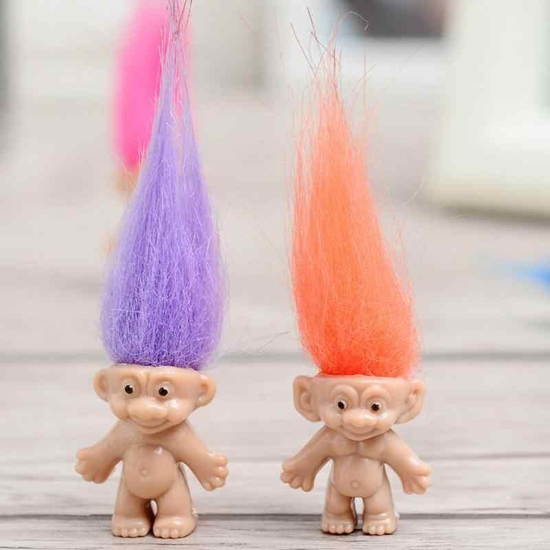 Anime quente estatueta trolls boneca macio de pelúcia mini troll figura brinquedos figurinhas papoula ramo magia fada cabelo wizard 5 pçs/set