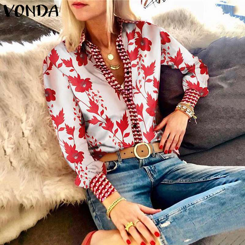 VONDA   Blouse   Women Plus Size Tops 2019 Vintage Floral Print   Shirts   Casual Loose Sexy V Neck Long Puff Sleeve Blusas Femininas