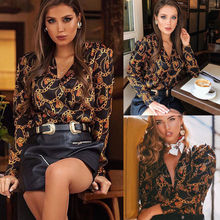Hirigin Brand Womens Long Sleeve Chiffon Blouse Button Casual Tops Ladies V Neck OL Office Work