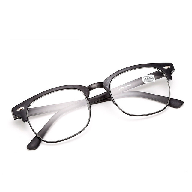 TR90 Reading Glasses Men Retro Half Frame Presbyopic Eyeglasses Anti Fatigue