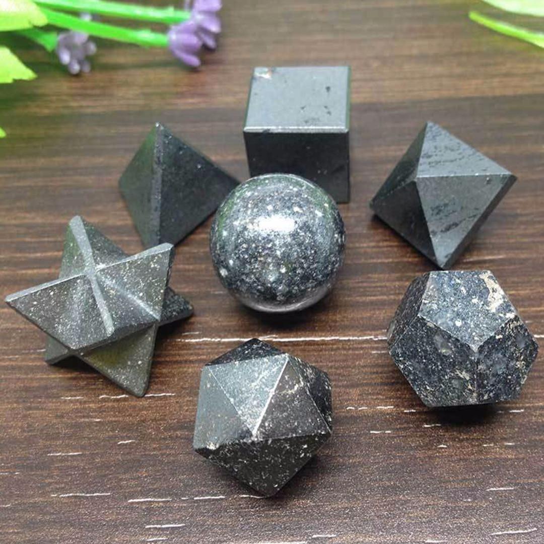 JX-LCLYL 7pcs Hematite Platonic Solids Sacred Meditation Crystal Geometric Set