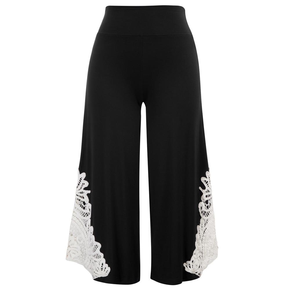 soft stretch Women trousers Casual Comfy Elastic Waist Wide Leg flare   pants     Capri   lace patchwork Cropped   Pants   pantalon femme
