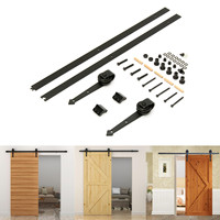 Sliding Barn Door Hardware Track Set With Rubber Ring Arrow Type for Barn/Solid Wood Door Carbon Steel Strong Bearing Capacity