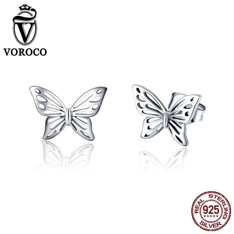 VOROCO 925-Butterfly-Dream Earrings Jewelry Wedding-Anniversary Women Silver for Fashion