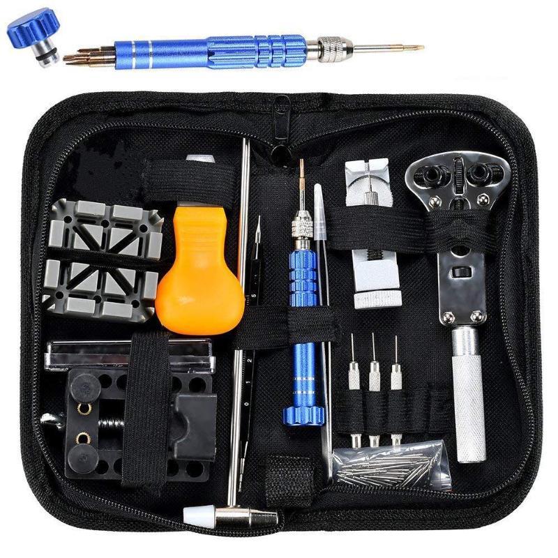 144 pièces montre outils ouvre-montre dissolvant ressort Bar réparation Pry tournevis horloge montre réparation outil Kit horloger outils livraison directe