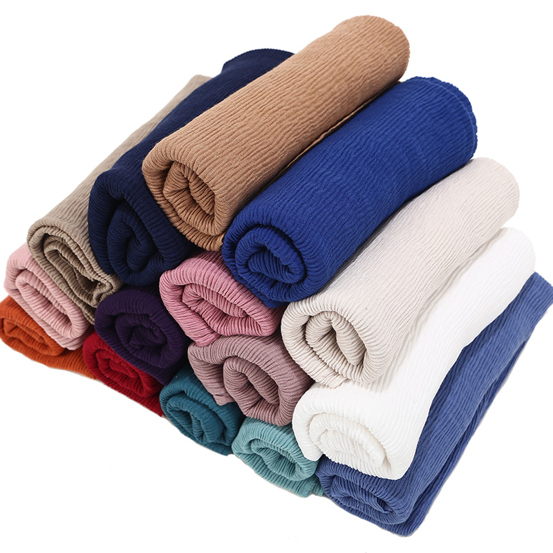 100pcs NEW fashion pleated hijab scarf plain crinkle shawl muslim hijabs women plain maxi scarves shawls islamic scarfs 20 color
