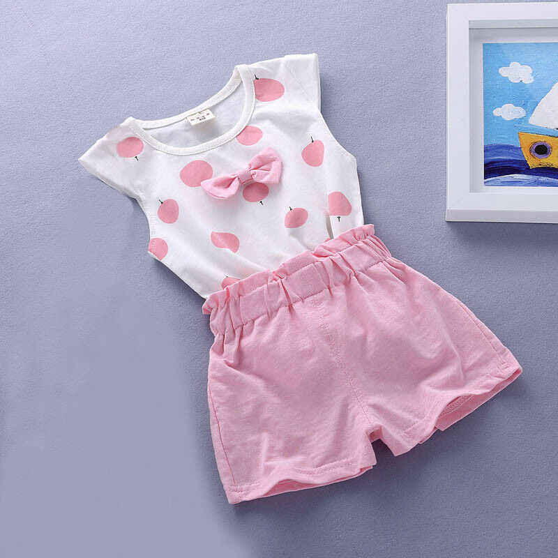 Baby mädchen Sommer tank outfits 6m 12m 2T 3T Kleinkind kinder baby mädchen outfits baumwolle T + Shorts Hosen kleidung Set polka dot