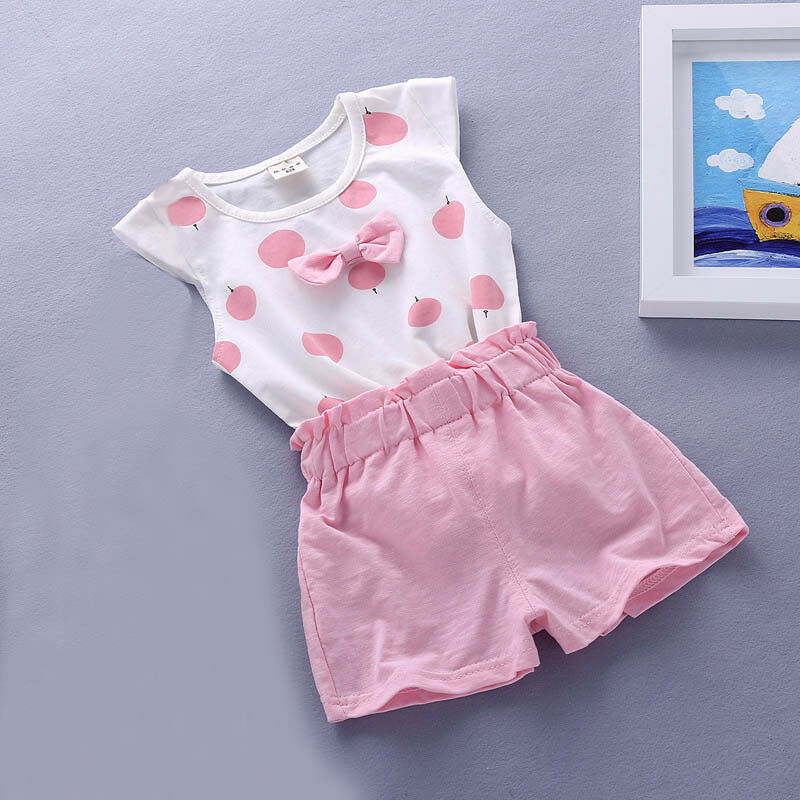 Baby Girls Summer Tank Outfits 6m 12m 2T 3T Toddler Kids Baby Girls Outfits Cotton Tee+Shorts Pants Clothes Set Polka Dot