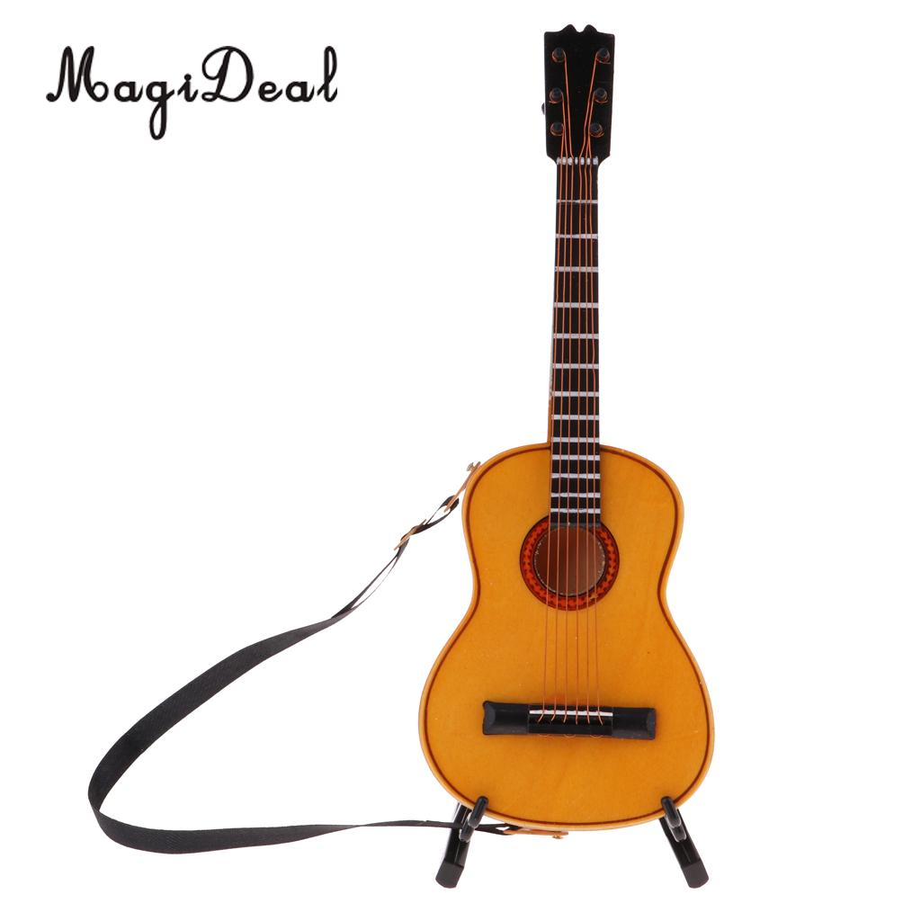 1/6 Scale Kids Musical Instrument Crafts Toys Wooden Guitar Model With Stand Dollhouse Desktop Decor Accessories