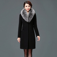 Hot Sale Female Covered Button Long Outerwear Winter Fur Collar Slim Blends Coat Women Long Sleeve Woolen Overcoat