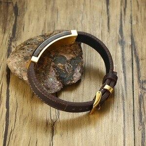 Image 5 - Bracelet de Station rectangulaire classique Gent en acier inoxydable et cuir véritable marron avec des bijoux pour hommes en œil de tigre