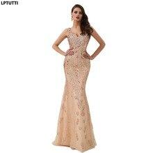 LPTUTTI olśniewająca frezowanie kryształ nowy dla kobiet elegancki data ceremonii przyjęcia suknia wieczorowa formalna Gala luksusowe długie suknie wieczorowe 14