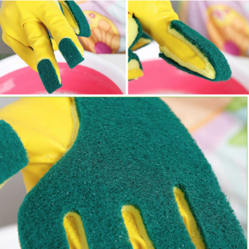 2PCS Lot Kitchen Cleaning Gloves Reusable Sponge Fingers Household Garden Dishwashing Latex Washing Gloves Disposable Tools in Household Gloves from Home Garden