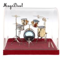 14*10*10cm Miniature Copper Drum Set Musical Instrument Model for Dollhouse Home Room Desk Table Display Ornaments Children Toy