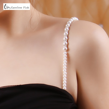 Hot-selling beaded clip double-shoulder metal rhinestone shoulder strap diamond no shoulder tape tube top pectoral girdle bra light blue cold shoulder thin strap top