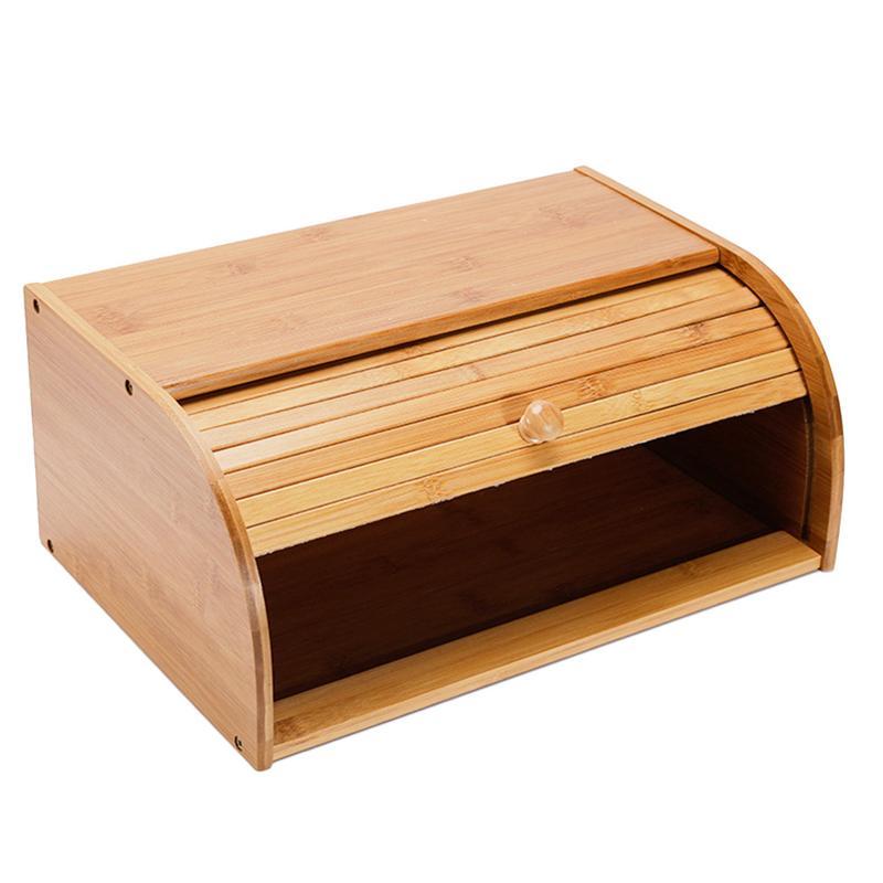 De Rangement En Bambou naturel Roll Top Pain Titulaire Boîte De Stockage des Aliments Cuisine Boîte Multi-fonction Container # EO